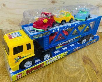 700-4 Speed truck трейлер 5 машинок в колбе (3ретро+2 спорт) 37*15см