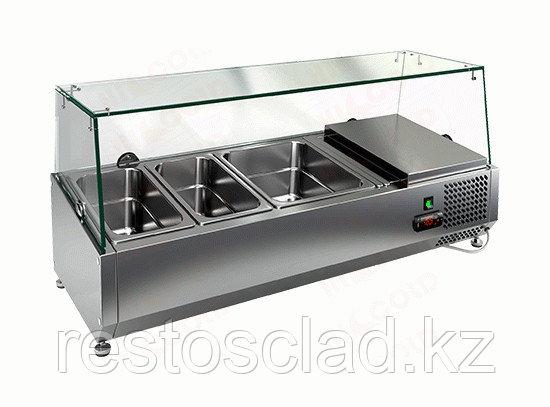Витрина охлаждаемая настольная HICOLD VRTG 3 со стеклом к столу для пиццы PZE3-111/GN [284230]