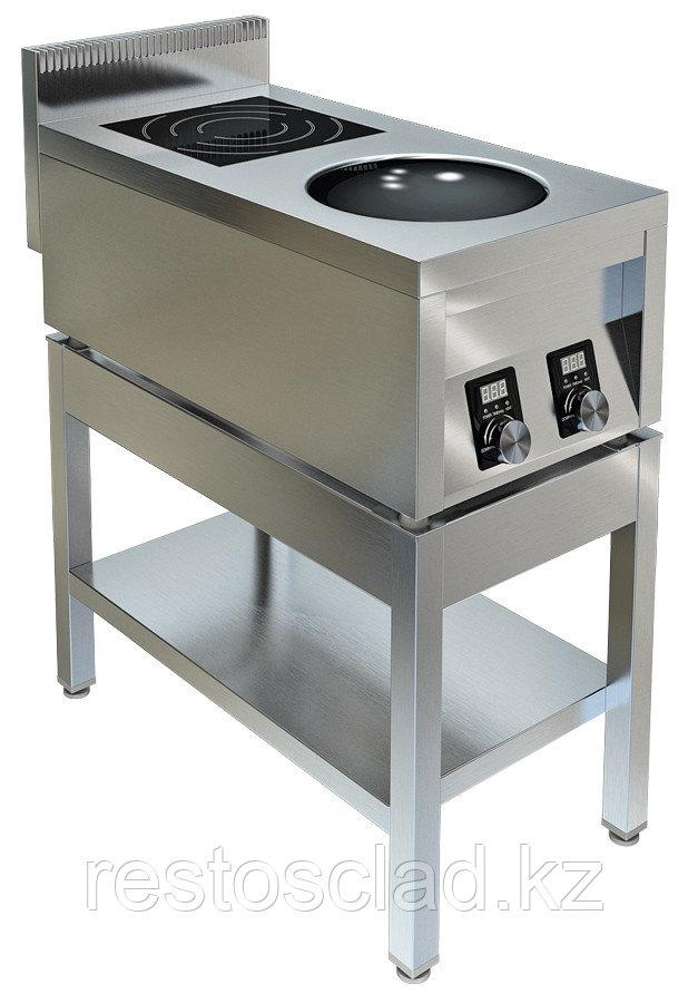 Плита индукционная ТЕХНО-ТТ ИПК-210115 двухконфорочная плоская и ВОК