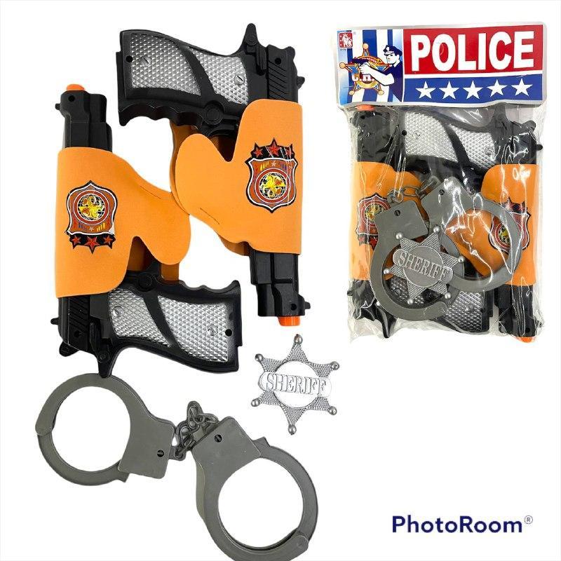 25*13 Полицейсккий набор Police 2 в 1 с наручниками в пакете 28*18см