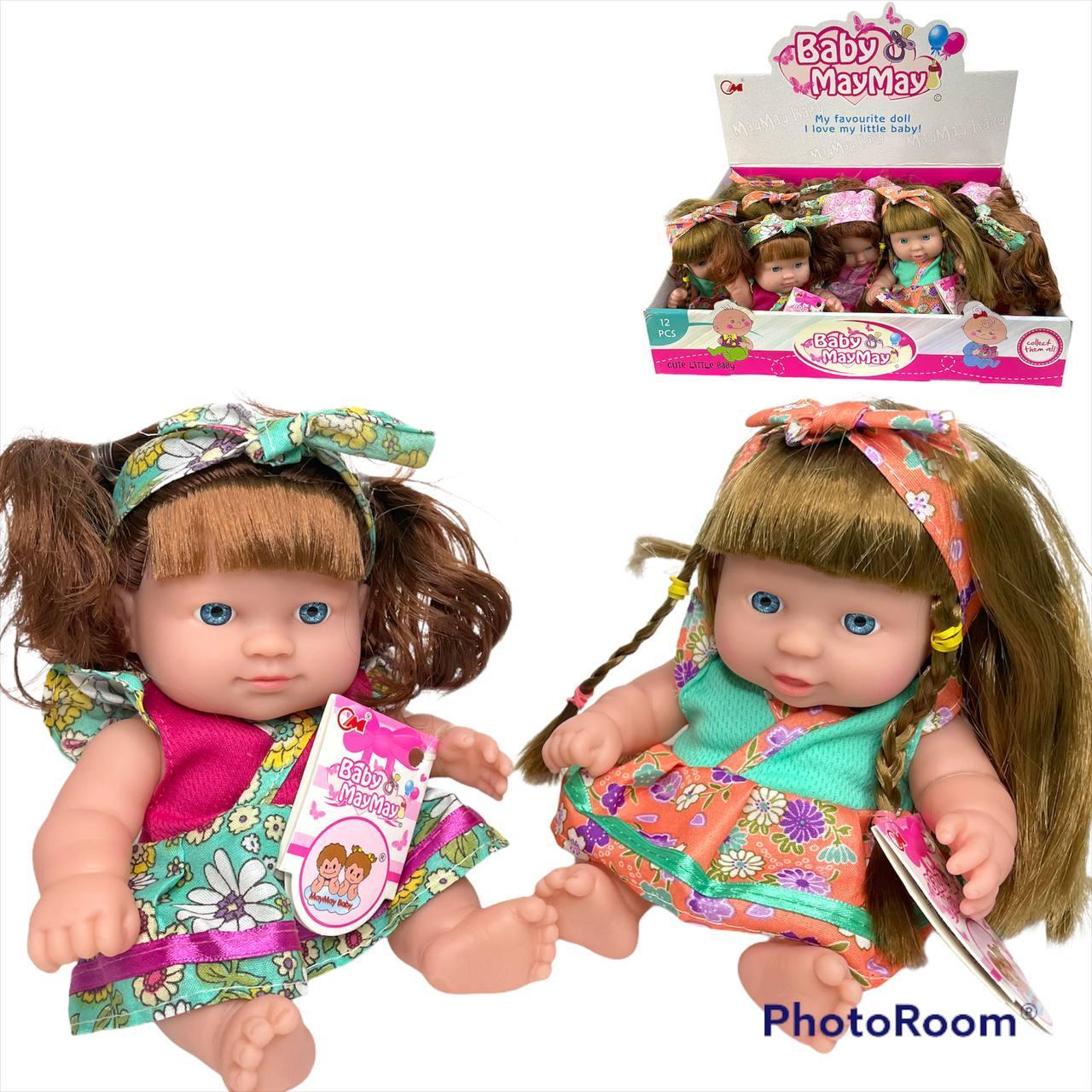 565-F Кукла Baby May May в платье с косичкой из 12 шт (качественная), цена за 1шт 19*11см