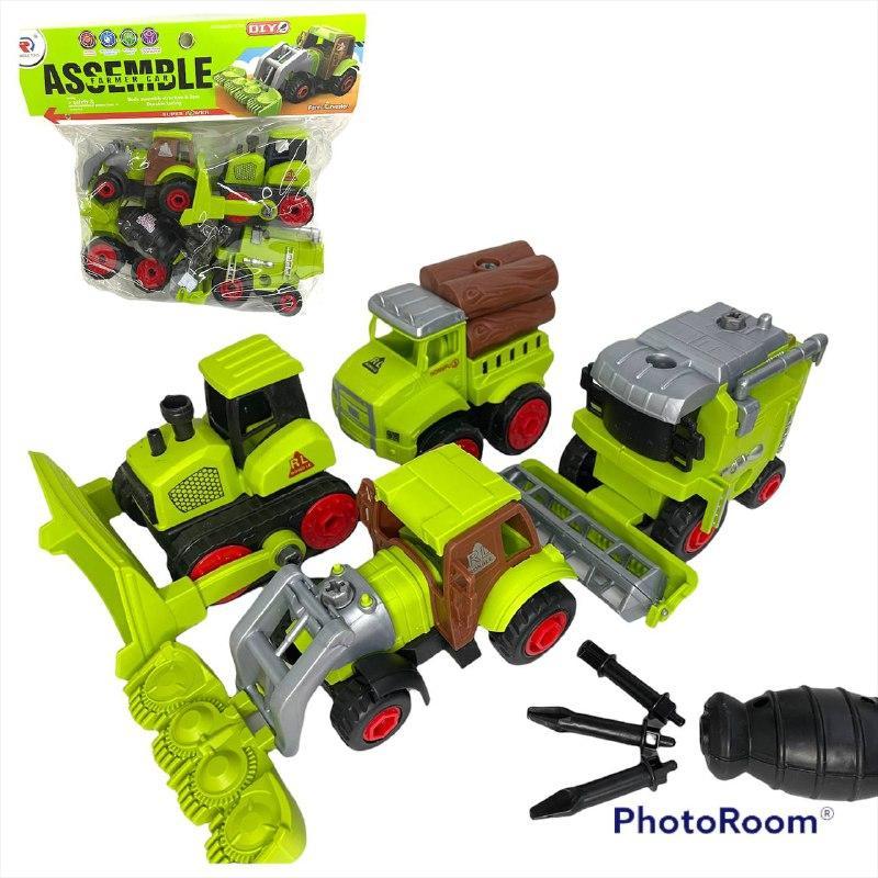 RL589-18D Сельскохозяйственная техника Assemble 4 в 1 рвзбирайка в пакете 27*25см