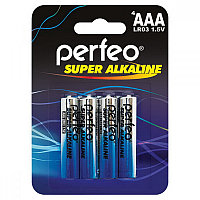 Батарейка алкалиновая Perfeo Super Alkaline, AАA, LR03-BL4, 1.5В, блистер, цена за 1 шт.