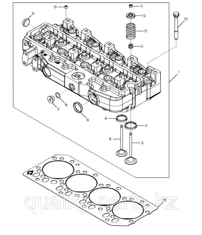 Головка блока в сборе на экскаватор-погрузчик Hidromek 102B (с двигателем Perkins)