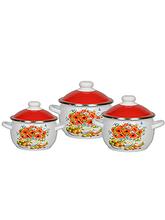 Набор эмалированной посуды 02 Натюрморт к.2,0/3,0/4,0л 6КН021М белосн.