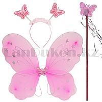 Набор феи крылья со звездочками ободок и волшебная палочка розовый