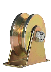 """Ролик направляющий V - образный, стальной на кронштейне, 80мм (3,15"""")"""