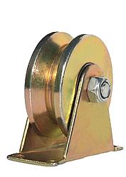 """Ролик направляющий V - образный, стальной на кронштейне, 100мм (4"""")"""