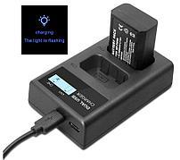 USB двойное зарядное устройство с дисплеем для аккумулятора Sony NP-FW50