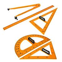 Набор для школьной доски, 5 предметов: 2 треугольника, 1 транспортир, 1 циркуль, 1 линейка