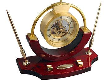Часы настольные Люксембург, золотистый/красное дерево