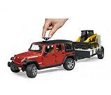 Внедорожник Jeep Wrangler Unlimited Rubicon c прицепом-платформой и мини погрузчиком CAT Bruder  02-925, фото 6