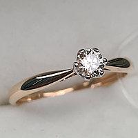 Золотое кольцо с бриллиантами 0.22Сt SI1/L, VG- Cut, фото 1