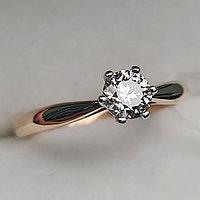 Золотое кольцо с бриллиантами 0.36Сt SI2/L, VG- Cut, фото 1