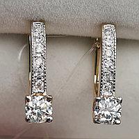 Золотые серьги с бриллиантами 0.69Ct VS2/L, VG-Cut, фото 1