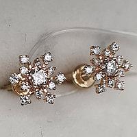 Золотые серьги с бриллиантами 0.294Ct VS2/I, VG-Cut
