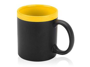Кружка с покрытием для рисования мелом Да Винчи, черный/желтый