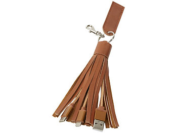 Тканевый кабель для зарядки Tassel 3-в-1, коричневый