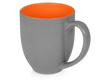 Кружка керамическая Gracy 470мл, серый/оранжевый