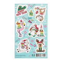 Наклейки новогодние 'Зверята' фламинго, ленивец (комплект из 20 шт.)