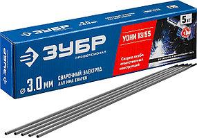 ЗУБР Ø 3.0 мм, 5 кг, для ММА сварки, с основным покрытием, электрод сварочный УОНИ 13/55 40025-3.0