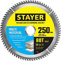 STAYER 250 х 32 мм, 80Т, диск пильный по алюминию Multi Material 3685-250-32-80 Master