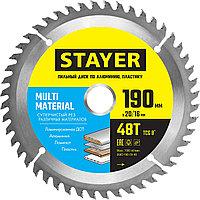 STAYER 190 х 20/16 мм, 48Т, диск пильный по алюминию Multi Material 3685-190-20-48 Master