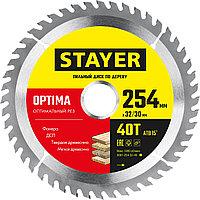 STAYER  254 x 32/30 мм, 40Т, диск пильный по дереву Optima 3681-254-32-40_z01