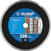 ЗУБР Ø 230х25.4 мм, алмазный, сплошной, диск отрезной КЕРАМО 36655-230_z02 Профессионал