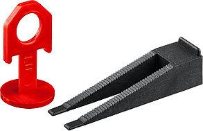ЗУБР 250+250 шт, система выранивания плитки (клин+1 мм зажим) (СВП комплект) 33851-H250