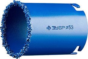 ЗУБР d 53 мм, L - 55 мм, карбид-вольфрамовое нанесение, кольцевая коронка 33350-53_z01 Профессионал