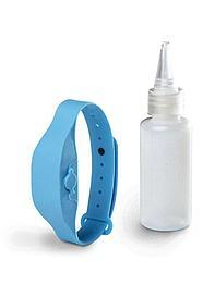 Антисептический браслет для рук с дозатором - голубой