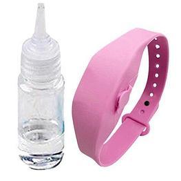 Антисептический браслет для рук с дозатором - розовый