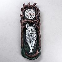 Часы 'Волк', водная краска, белые, 50*17*13 см