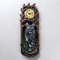 Часы 'Волк', водная краска, серые, 50*17*13 см