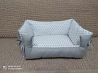 Лежанка для собачек двухсторонние звезды/серый, фото 1