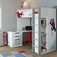 Кровать-чердак Polini Simple Marvel 4355 Человек-паук с письменным столом и шкафом, фото 1