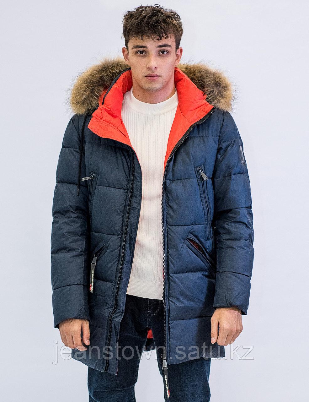 Куртка мужская зимняя Vivacana  синяя, натуральный мех на воротнике
