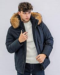 Зимняя мужская куртка Kings Wind  синяя, натуральный мех на воротнике