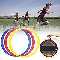Тренировочные кольца для футбола набор 12 шт в чехле с ручками красные синие желтые GF 0095