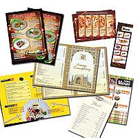 Печать Меню для ресторанов и кафе, листовки, визитки, каталоги, журналы
