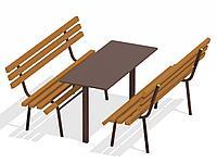 Дачный комплект из 2 лавочек и стола МАФ 1620