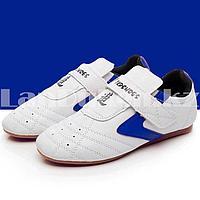 Обувь для тхэквондо (соги/степки) Tkdshoes на липучке размеры 34-38 сине-белые