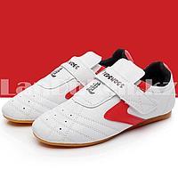 Обувь для тхэквондо (соги/степки) Tkdshoes на липучке размеры 34-38 красно-белые