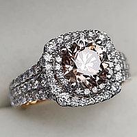 Золотое кольцо с бриллиантом 2.47Сt SI1/C1 EX-Cut (1.50Ct - Cognac Diamond)