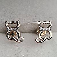 Детские золотые серьги с бриллиантами 0.05Ct VS1/J, Ex-Cut, фото 1
