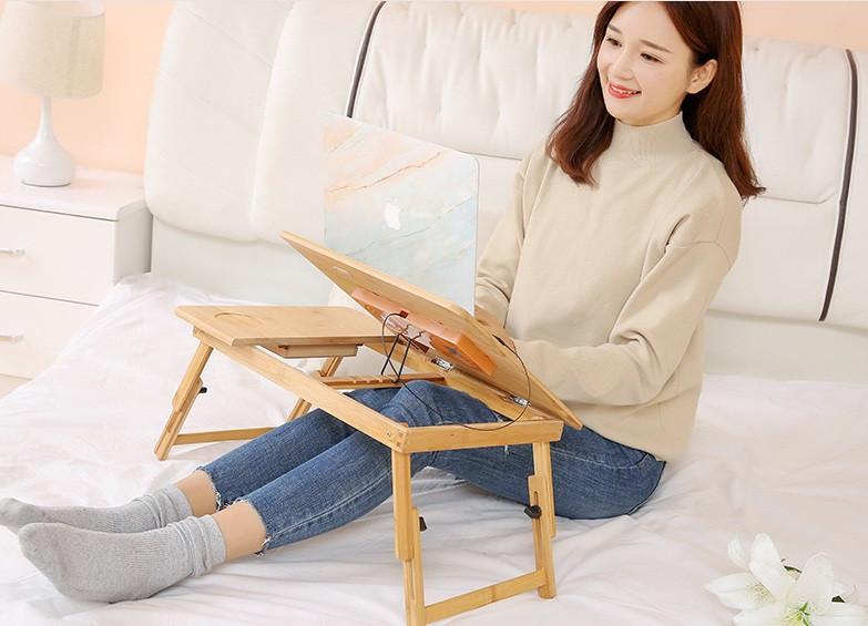 Бамбуковый столик для ноутбука с охлаждением