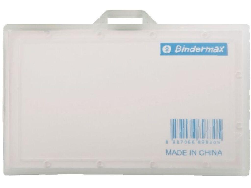 Бейдж горизонтальный Bindermax, 93x60 мм, без зажима, жесткий, прозрачный