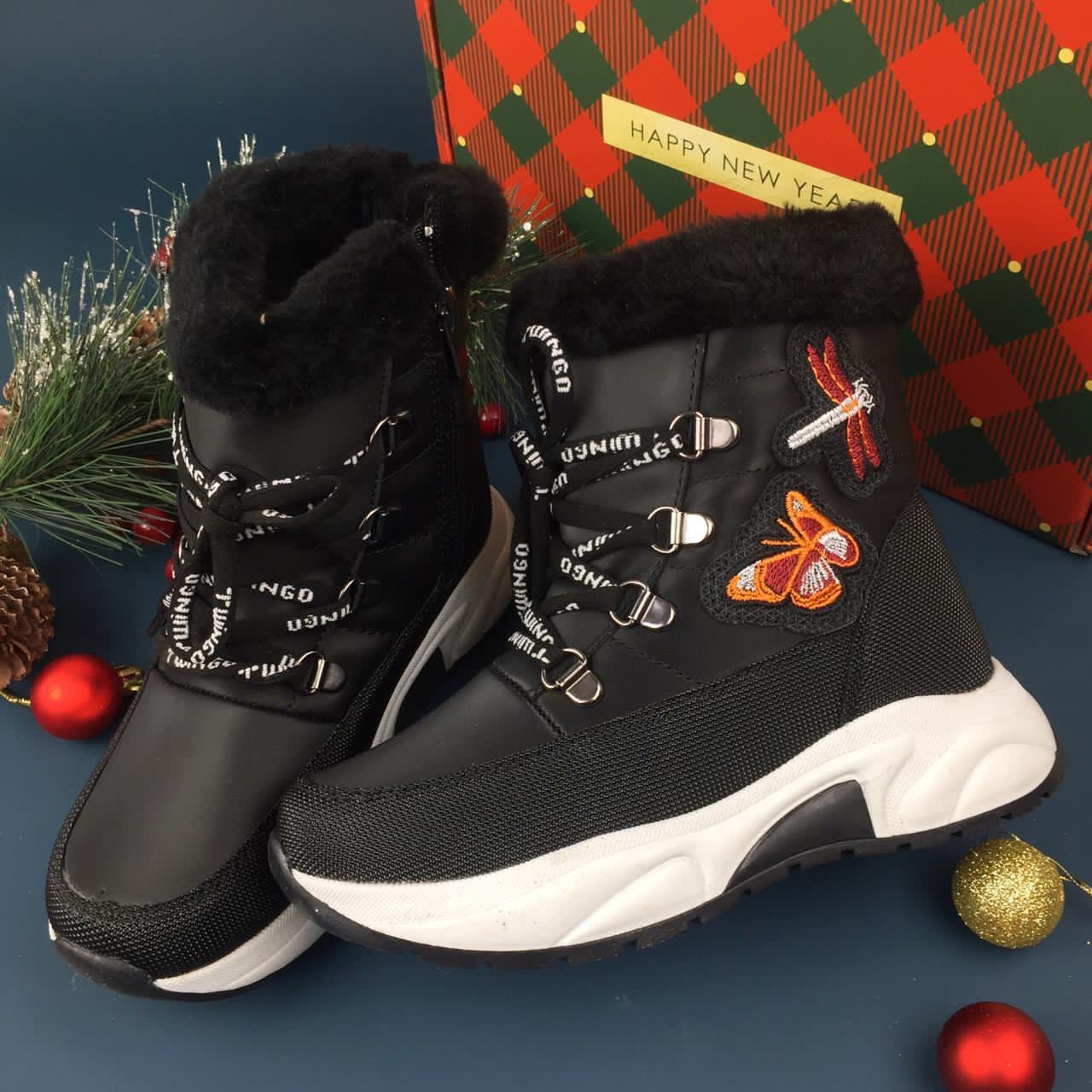 MINICAN обувь дутыши зимние сапоги для девочек с бабочками