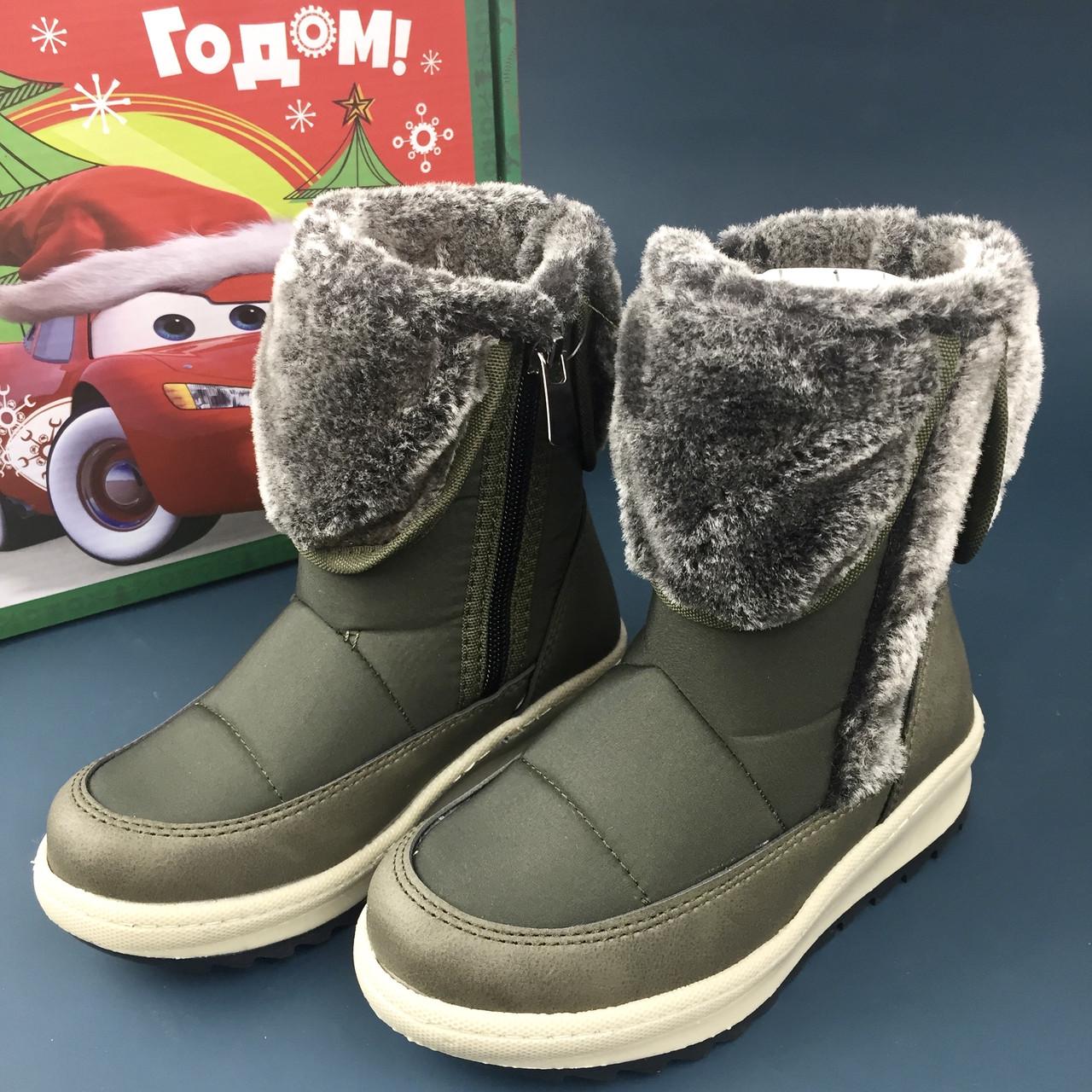 MINICAN обувь детская на липучках зимняя дутыши сапоги детские зимние